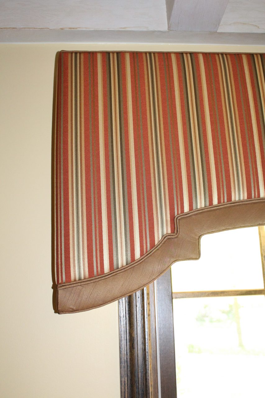Shaped cornice with double welt cord and contrast banding. Fabric from Trend and Fabricut.